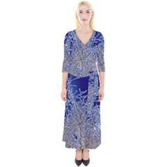 Crystalline Branches Quarter Sleeve Wrap Maxi Dress