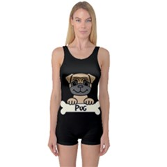 Tan Pug With A Bone  One Piece Boyleg Swimsuit
