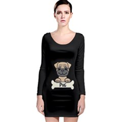 Tan Pug With A Bone Long Sleeve Bodycon Dress