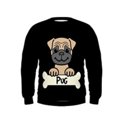 Tan Pug With A Bone  Kids  Sweatshirt