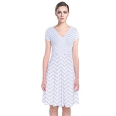 Light Chevron Short Sleeve Front Wrap Dress