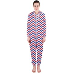 Navy Chevron Hooded Jumpsuit (ladies)