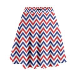 Navy Chevron High Waist Skirt