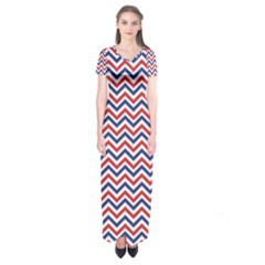 Navy Chevron Short Sleeve Maxi Dress