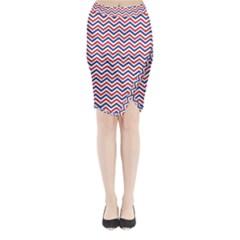 Navy Chevron Midi Wrap Pencil Skirt