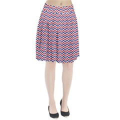 Navy Chevron Pleated Skirt