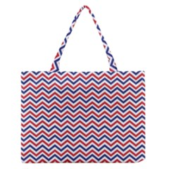 Navy Chevron Zipper Medium Tote Bag
