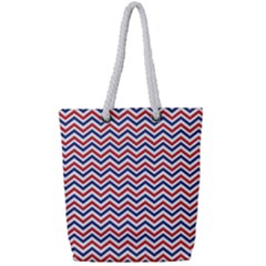 Navy Chevron Full Print Rope Handle Tote (small)