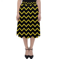Yellow Chevron Folding Skater Skirt