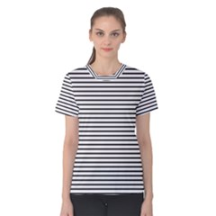 Basic Horizontal Stripes Women s Cotton Tee