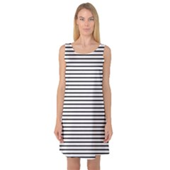 Basic Horizontal Stripes Sleeveless Satin Nightdress