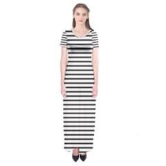 Basic Horizontal Stripes Short Sleeve Maxi Dress