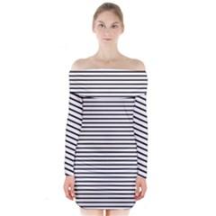 Basic Horizontal Stripes Long Sleeve Off Shoulder Dress