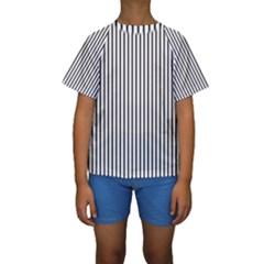 Basic Vertical Stripes Kids  Short Sleeve Swimwear