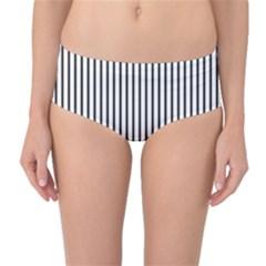 Basic Vertical Stripes Mid Waist Bikini Bottoms