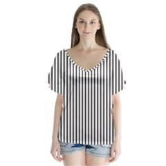 Basic Vertical Stripes V Neck Flutter Sleeve Top