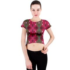 Christmas Colors Wrapping Paper Design Crew Neck Crop Top