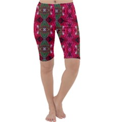 Christmas Colors Wrapping Paper Design Cropped Leggings