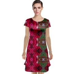 Christmas Colors Wrapping Paper Design Cap Sleeve Nightdress