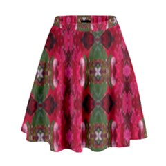 Christmas Colors Wrapping Paper Design High Waist Skirt