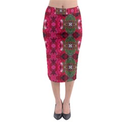 Christmas Colors Wrapping Paper Design Midi Pencil Skirt