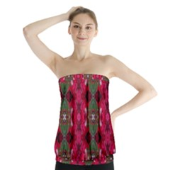 Christmas Colors Wrapping Paper Design Strapless Top