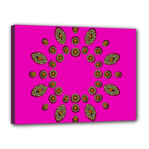Sweet Hearts In  Decorative Metal Tinsel Canvas 16  X 12