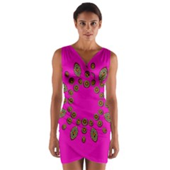 Sweet Hearts In  Decorative Metal Tinsel Wrap Front Bodycon Dress