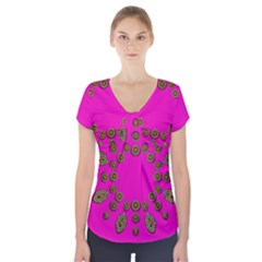Sweet Hearts In  Decorative Metal Tinsel Short Sleeve Front Detail Top