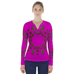 Sweet Hearts In  Decorative Metal Tinsel V Neck Long Sleeve Top