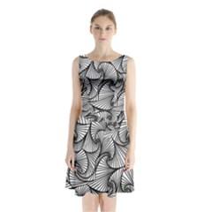 Fractal Sketch Light Sleeveless Waist Tie Chiffon Dress