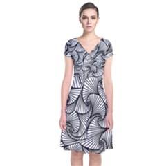 Fractal Sketch Light Short Sleeve Front Wrap Dress