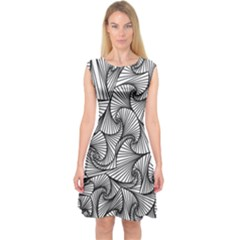 Fractal Sketch Light Capsleeve Midi Dress