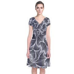 Fractal Sketch Dark Short Sleeve Front Wrap Dress