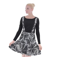 Fractal Sketch Dark Suspender Skater Skirt