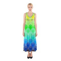 Art Deco Rain Bow Sleeveless Maxi Dress