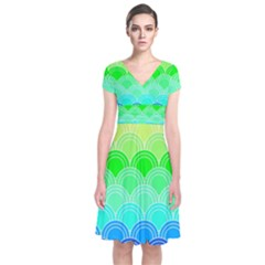Art Deco Rain Bow Short Sleeve Front Wrap Dress