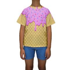Strawberry Ice Cream Kids  Short Sleeve Swimwear