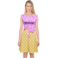 Strawberry Ice Cream Capsleeve Midi Dress