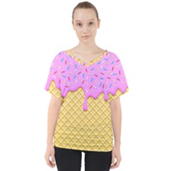Strawberry Ice Cream V Neck Dolman Drape Top