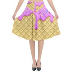 Strawberry Ice Cream Flared Midi Skirt