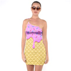 Strawberry Ice Cream One Soulder Bodycon Dress