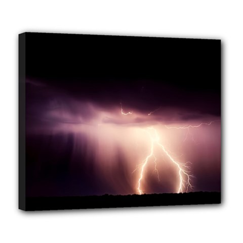Storm Weather Lightning Bolt Deluxe Canvas 24  X 20