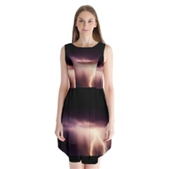 Storm Weather Lightning Bolt Sleeveless Chiffon Dress