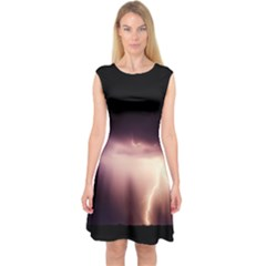 Storm Weather Lightning Bolt Capsleeve Midi Dress