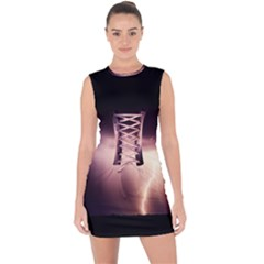 Storm Weather Lightning Bolt Lace Up Front Bodycon Dress
