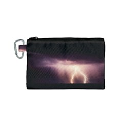 Storm Weather Lightning Bolt Canvas Cosmetic Bag (small)