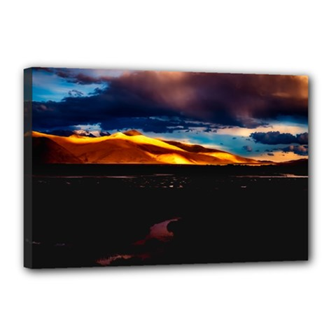India Sunset Sky Clouds Mountains Canvas 18  X 12