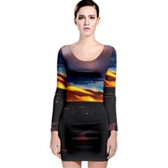 India Sunset Sky Clouds Mountains Long Sleeve Bodycon Dress