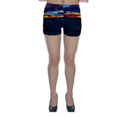 India Sunset Sky Clouds Mountains Skinny Shorts